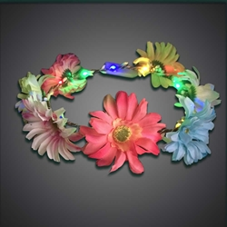 Big Flower Headband headband, flowers, flowerband, led headband, lighted head band, head wear, head bopper