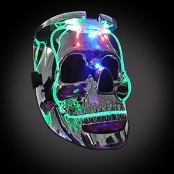 Light Up Silver Skull Mask Light up mask, lighted mask, LED mask, skull mask, rave, festival, edm, edc, electronic dance, halloween, vending, vendor, mardi gras