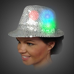 Lighted Sequin Silver Fedora - AG13  lighted silver fedora, lighted hat, light up fedora, light up hat, flashing hat, blinking hat, men, ladies, women, dance, costume, new years, mardi gras, july 4th, vend, prom