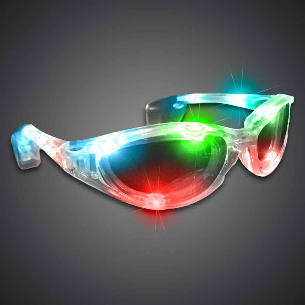 MultiColored Wrap-Around Sunglasses lighted sunglasses, light up sunglasses, LED sunglasses, wrap-around lighted sunglasses, wrap-around shades, men, boys, vend, july 4th, party, dance, pep rally, school