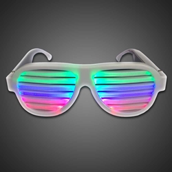 Sound Activated Multicolored Shutter Shades - CLOSE OUT EL wire sunglasses, lighted sunglasses, light up sunglasses, LED sunglasses, wrap-around lighted sunglasses, wrap-around shades, men, boys, vend, july 4th, party, dance