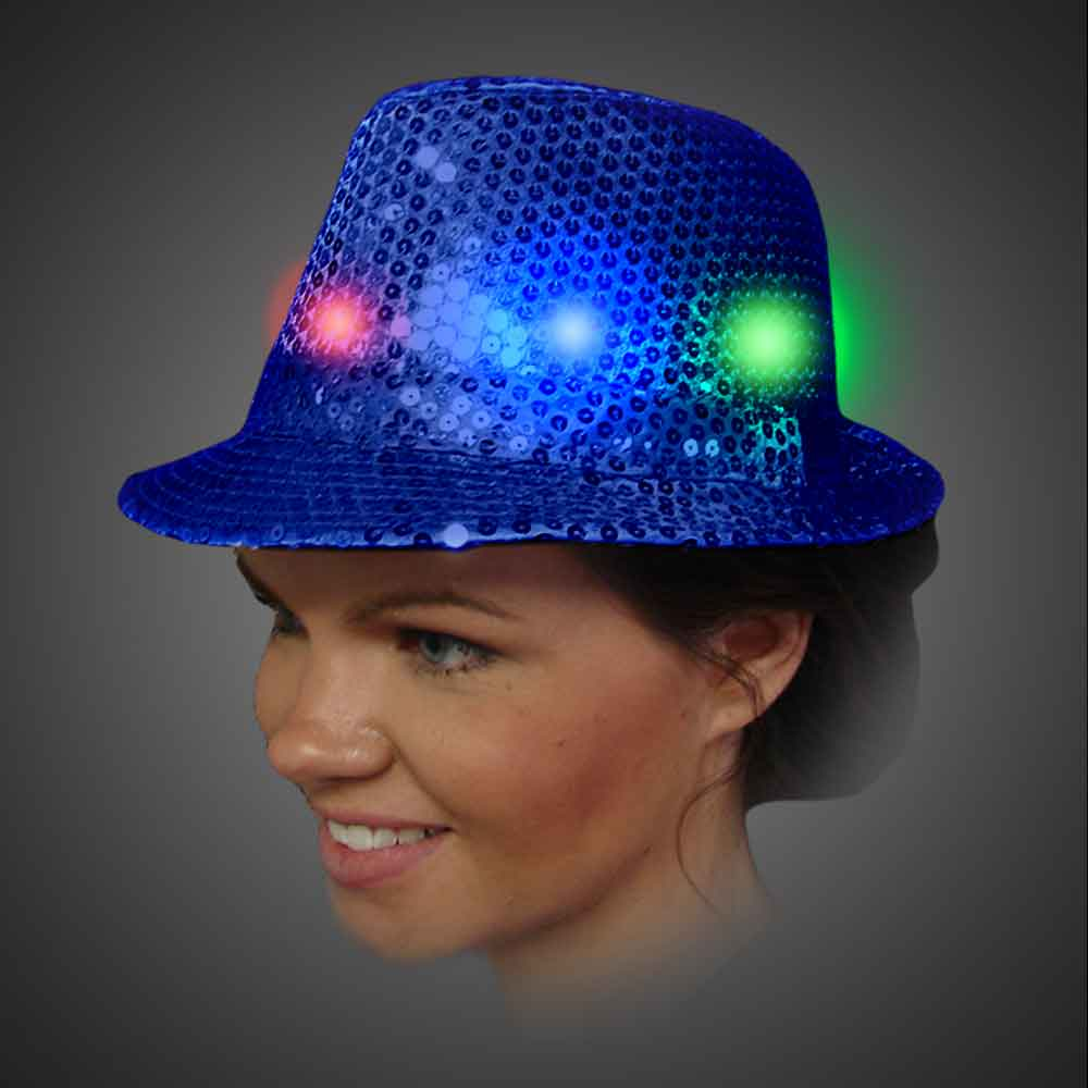 Lighted Sequin Royal Blue Fedora - AG13  lighted royal blue fedora, lighted hat, light up fedora, light up hat, flashing hat, blinking hat, men, ladies, women, dance, costume, new years, mardi gras, july 4th, vend, prom
