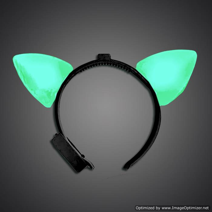 Green Lighted Cat Ears green cat ears, cat, headwear, boppers, led headband, edm, edc, cosplay, costume, rave, festival, burning man
