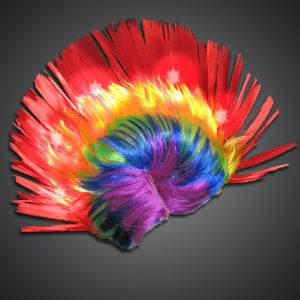 Rainbow LED Mohawk Wig