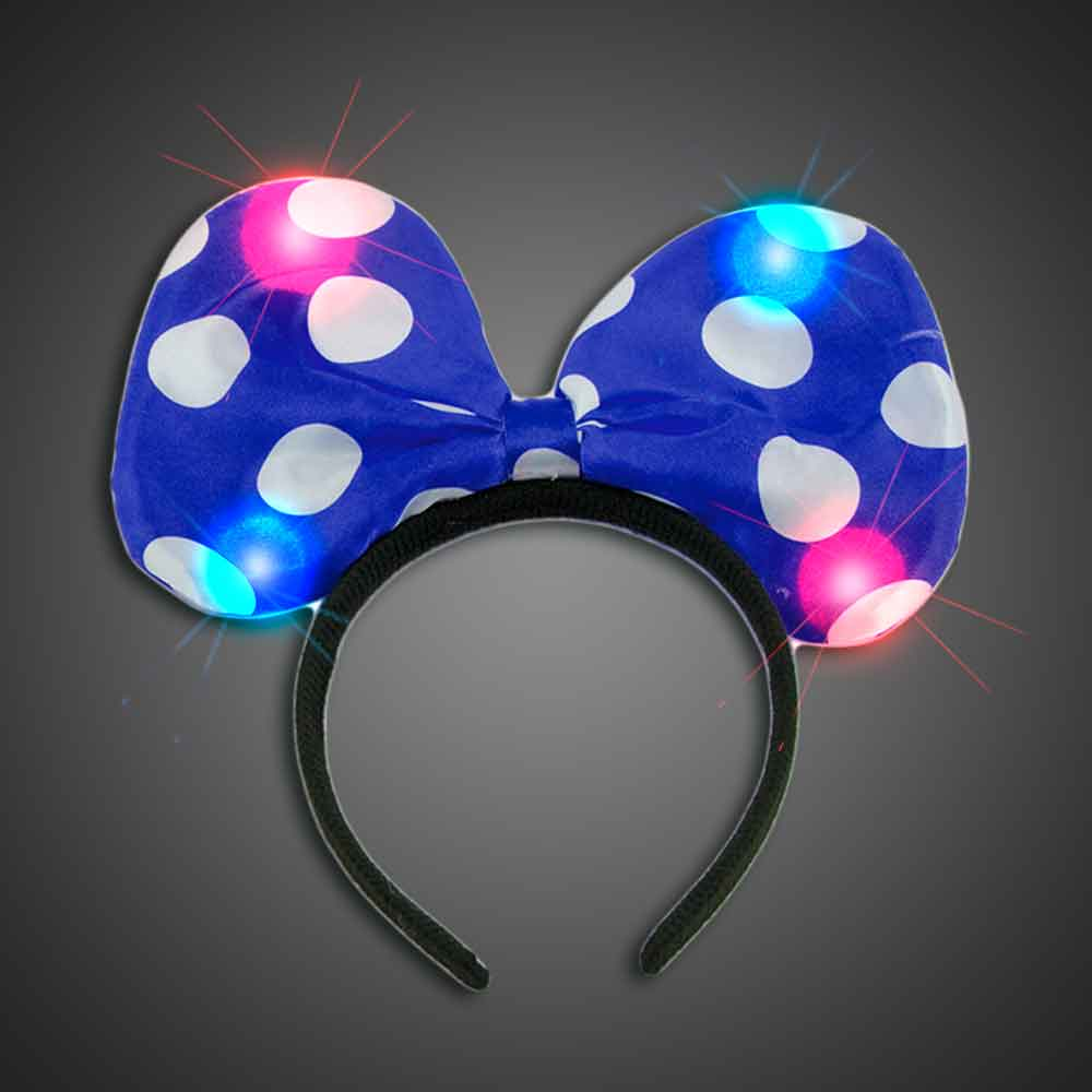 Lighted Polka Dot Blue Headbow  lighted blue headbow, light up headbow, minnie head bow, party favor, birthday party, flashing head bow, costume, lighted head bow