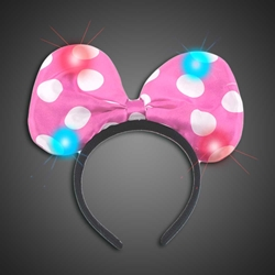 Lighted Polka Dot Pink Headbow lighted blue headbow, light up headbow, minnie head bow, party favor, birthday party, flashing head bow, costume, lighted head bow