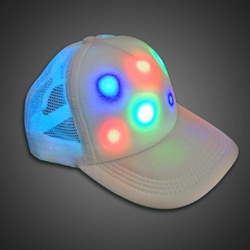LED Cap Lighted Trucker Baseball Hat (BACKORDERED Ships 6/5) LED Hat, Light Up Hat, Lighted Hat, Trucker Hat, Baseball Hat, LED Cap, Light up Cap, glow run, night running, sweat band, exercise, halloween, burning man, visibility, safety, cloth headband, rave, EDM, Festival