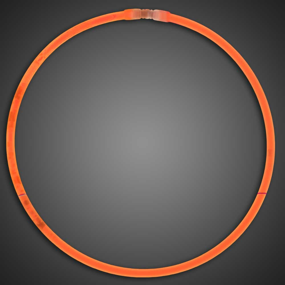 Orange Glow Necklaces - Pack of 50  orange glow necklaces, vending, birthday party, wedding, pta, school fundraiser, glow necklaces, chemical glow necklaces, solid color glow necklaces, one-color glow necklaces, wholesale glow necklaces