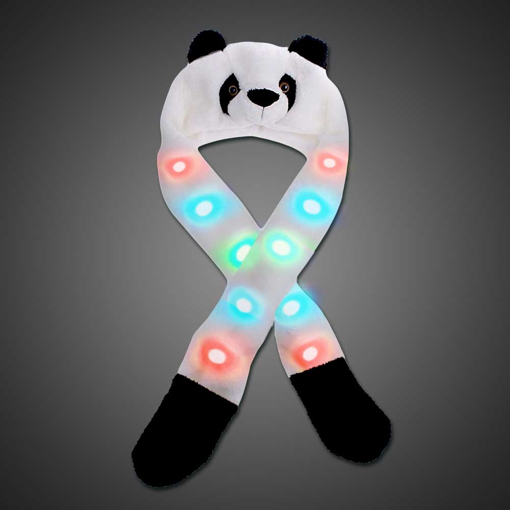 LED Panda Headwear LED Panda, panda hat, led hat, rave wear, burning man, edc, edm, party, fun hat