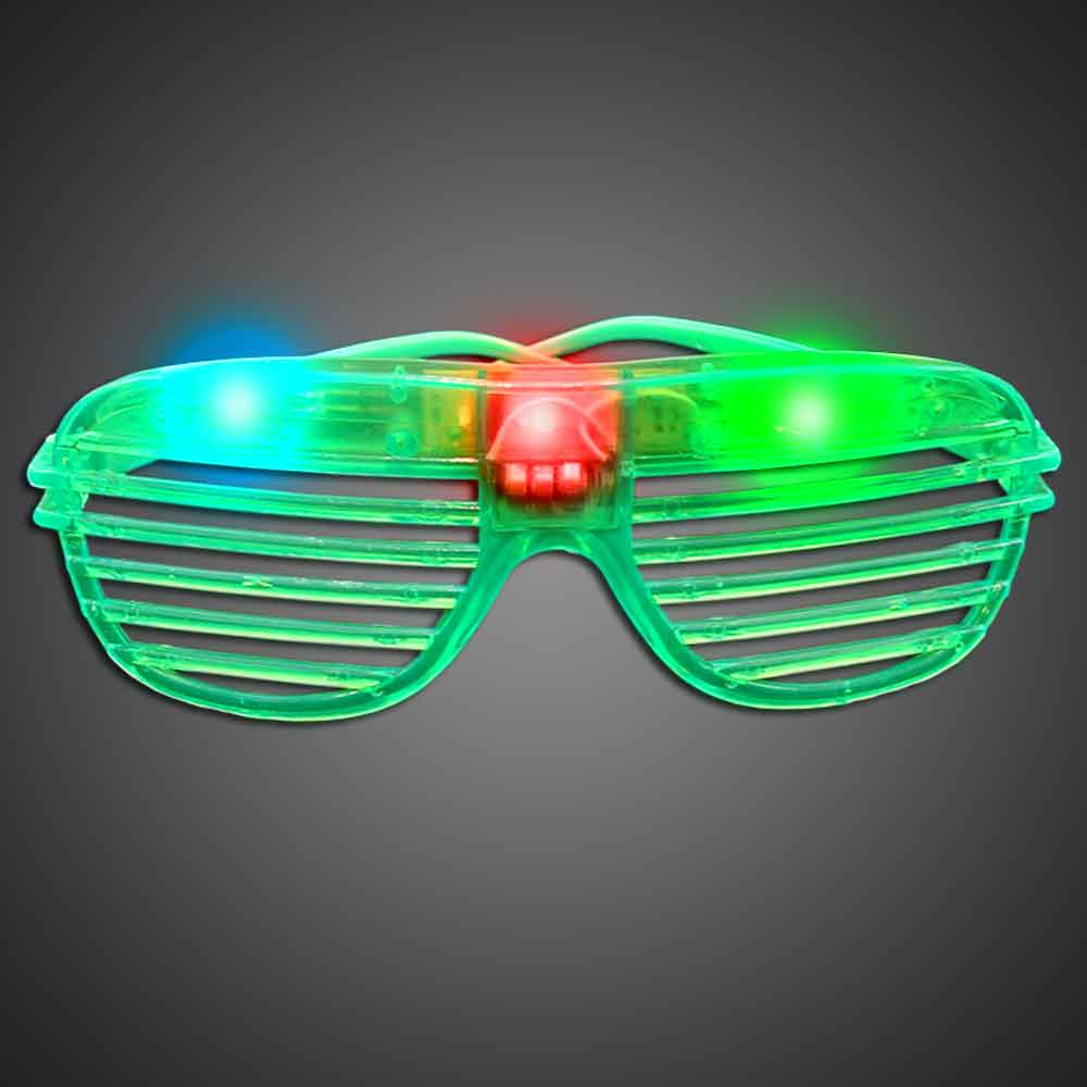Party Sunglasses - Green green, blue, red, purple, cheap, inexpensive, give aways, kids, party, lighted sunglasses, light up sunglasses, shutter shades, flashing sunglasses, rock star sunglasses, kanye glasses
