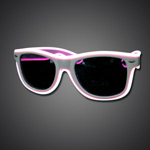 EL Wire Wayfarer Sunglasses EL wire sunglasses, lighted sunglasses, light up sunglasses, LED sunglasses, wrap-around lighted sunglasses, wrap-around shades, men, boys, vend, july 4th, party, dance, rave, EDM, Burning Man