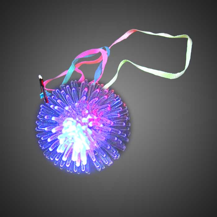 Urchin Ball Necklace LED Necklace, lighted necklace, light up necklace, flashing necklace, flashing pendant necklace, squishy necklace, silicone, cheap, inexpensive, kids, give aways, birthday parties, throws, mardi gras, fundraiser